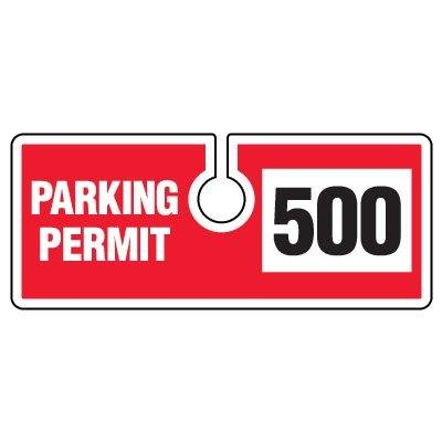 PARKING PERMIT/BLUE/#1-50Black/Blue on White 001-50
