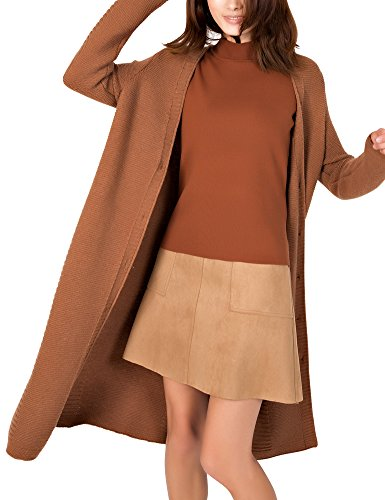 DELUXSEY Lambswool Blend Longline Cardigan - Cardigans for Women (Brown, S)