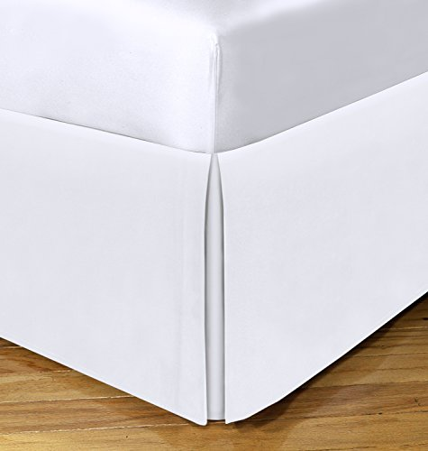 Spacemaker Space Maker FRE24821WHIT03 Polyester Bed Skirt – Extra Long Bedskirt Hides Bed Risers, Queen/21, White
