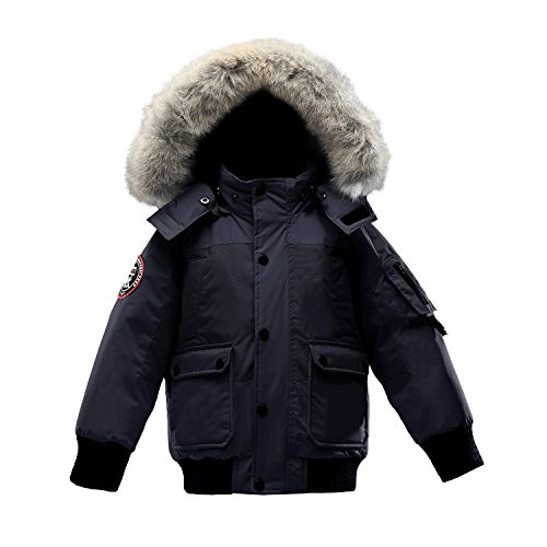 Triple F.A.T. Goose Grinnell Boys Down Jacket With Real Coyote Fur (8/10, Navy) by Triple F.A.T. Goose
