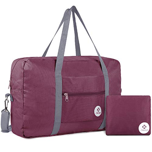 For Spirit Airlines Foldable Travel Duffel Bag Tote Carry on Luggage Sport Duffle Weekender Overnight for Women and Girls (Wine Red)