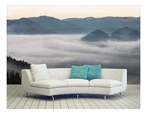 Large Wall Mural Black Mountains and Fog Vinyl Wallpaper Removable Wall Decor