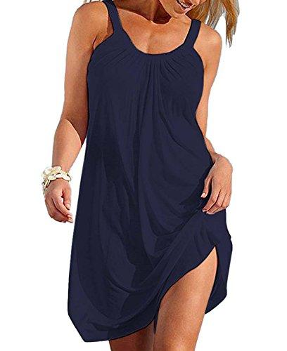 Fashion Women Swim Dresses Cover ups Beach Dress Sun Dress Navy Blue (Dress Ups)