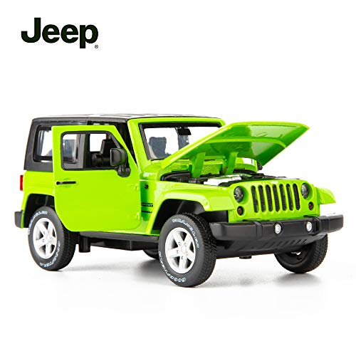 TGRCM-CZ Diecast Model Cars Toy Cars, Jeep Wrangler 1:32 Scale Alloy Pull Back Toy Car with Sound and Light Toy for Girls and Boys Kids Toys (Green)