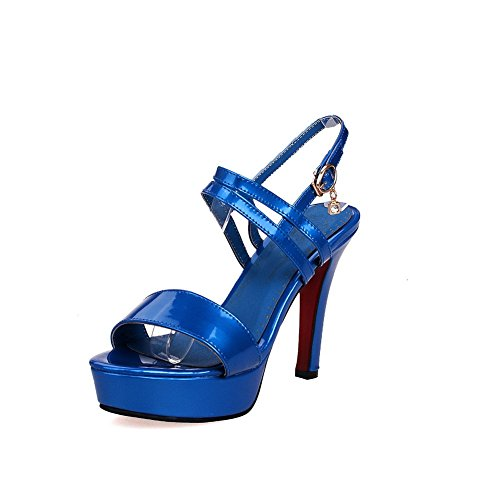 AgooLar Mujeres con Plataforma Hebilla Puntera Abierta Tacón de aguja Sólido Sandalia Azul