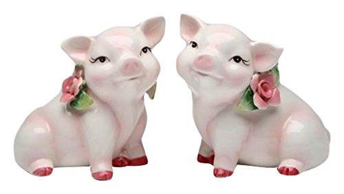 (Cg 96242 Set of 2 Pink Pigs with Red Hooves Sitting with Pink Roses Figurines)