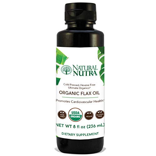 Natural Nutra Organic Flaxseed Oil Liquid Supplement, Cold Pressed. Vegan and Plant Based Source of Omega 3 6 9, Flax Oil for Cooking, Seasoning and Salads, 8oz