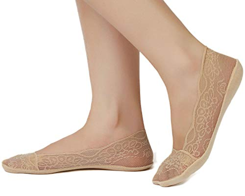 4 Pairs No Show Lace Cotton Liner Hidden Non-Skid Boat Socks Women (2Black+2Nude, Shoe-Size 6-8)