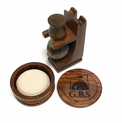 Wood Shaving Set- 4 Pieces- Pure Badger Shaving brush, Wood Brush and Razor Stand with Wood Bowl- Soap Included!