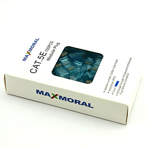 Blue Cat5e Color (Maxmoral 100-Pack of Gold Plated Cat5e RJ45 Modular Connectors for Stranded Cat5e Cable, Blue)
