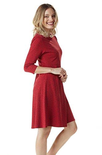3 und Rot Kleid Arm Taschen KUNTUR Bio 4 mit Damen Sommerkleid Brenda Baumwolle Pima APU 6PfvHwOqf