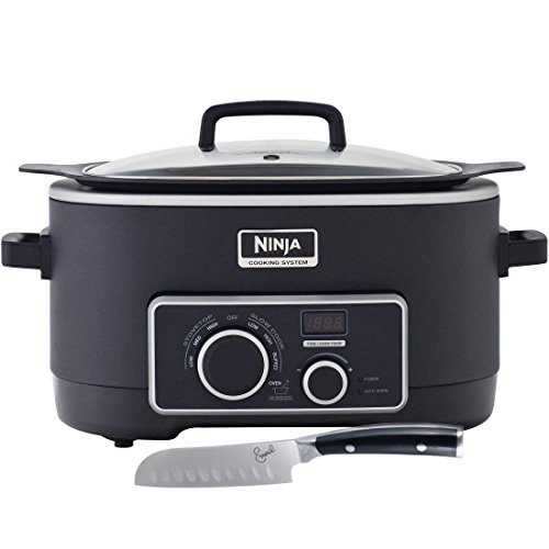 - Ninja 3-in-1 Cooking System [MC750] Slow Cooker with Emeril Forged Stainless Steel Santoku Knife