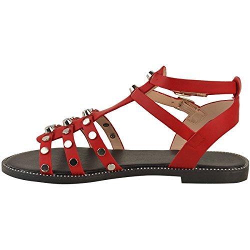 Mujer Plano Bajo Informal Fashion Tachuelas Tacón Imitación Cuero Tiras Con Gladiador Sandalias Rojo Vacaciones Thirsty Heelberry De wOIOqrEX