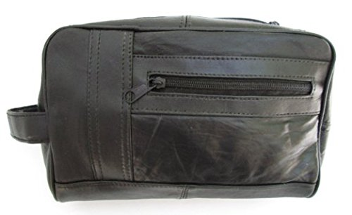 Lambskin Zippered - Mens Black Leather Shaving Kit Toiletry Bag Soft Lambskin