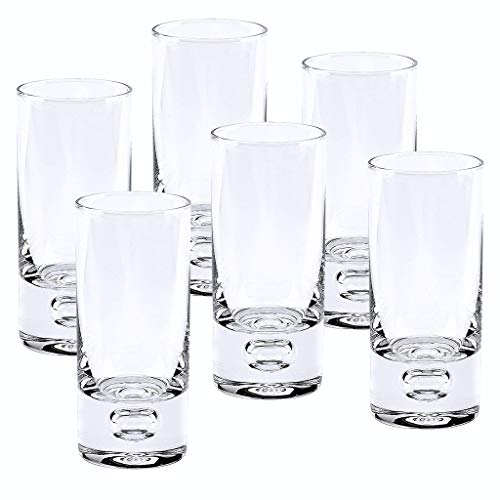 Badash - Galaxy 6 Pc Set Mouth Blown Lead Free Clear Crystal Shot or Vodka Glasses 3 oz