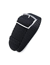 22mm MiLTAT Perlon Watch Strap, Braided Nylon Black, Sandblasted Ladder Lock Buckle