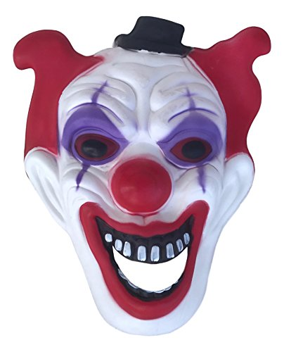 Jumbo Halloween Scary Crazy Clown Mask- Red and Black]()