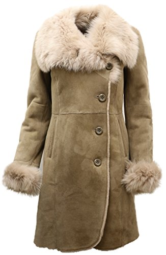 Shearling Four Coat Button (Infinity Ladies Warm Beige Suede Merino Sheepskin Coat with Toscana Collar L)