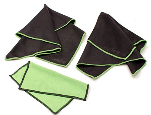 (Large 3-pack) Premium Microfiber Cleaning Cloth For Glass, Camera Lenses, Phones, Tablets, Flat Screen TVs (2 Large Black, 1 Small Green) - 12x12 by microSuede Pro