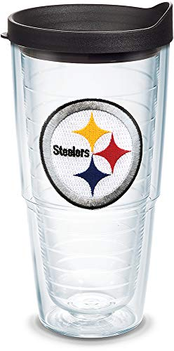 Tervis 1039064 NFL Pittsburgh Steelers Primary Logo Tumbler with Emblem and Black Lid 24oz, Clear