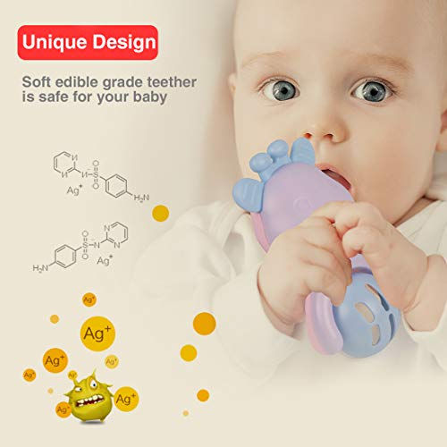 Baby Rattle Teether Toys for 6 9 12 18 Month Old Toymall Natural Rubber Activity Molar Toy Ball Shaker and Musical Sounds Play Gift Set for Newborn Boy Girl Kids 6 Pcs and 1 Storage Case by Toymall (Image #3)