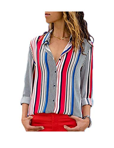 RICHPORTS Blouses for Women V Neck Casual Long Sleeve Button Down Collared T Shirt Color Block Strips Button Up Shirts Tops (Multicolor 3, Medium)