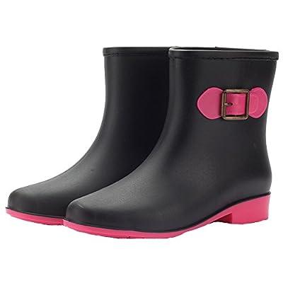 HW-GOODS Women's Fashion Contrast Color Non-slip Rain Boot
