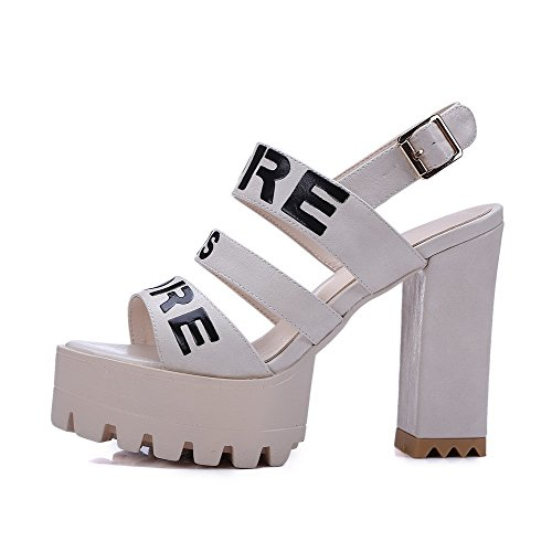 High Open Material Color Womens Amoonyfashion heels Beige toe Soft Sandals Buckle Assorted n6ORxwqf
