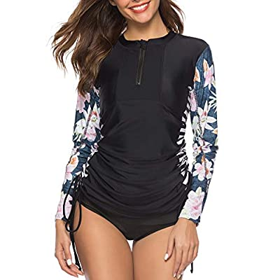 Caracilia Women's UV Sun Protection Long Sleeve Hooded Rash Guard Wetsuit Swimsuit Top at Women's Clothing store