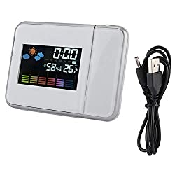 Weather Projector, Digital LED Weather Forecast Projector Calendar Humidity Display Alarm Clock(White)