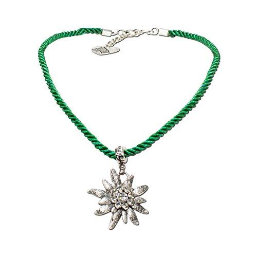 Trachtenschmuck Trachtenkette Kordel mit Strass-Edelweiß (grün) * Damen Dirndlkette, Kordelkette Oktoberfest