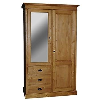 Armoire Pin Massif Miroir 2 Portes 3 Tiroirs 1/2 Penderie 1/2 étagères