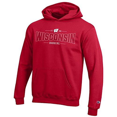 (Champion NCAA Youth Long Sleeve Fleece Hoodie Boy's Collegiate Sweatshirt Wisconsin Badgers Large)