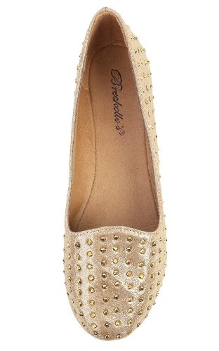 New Ladies Gold Leatherette Embellished Round Toe Slip on Ballerina Flats Shoes with Studs gyjgOFZ