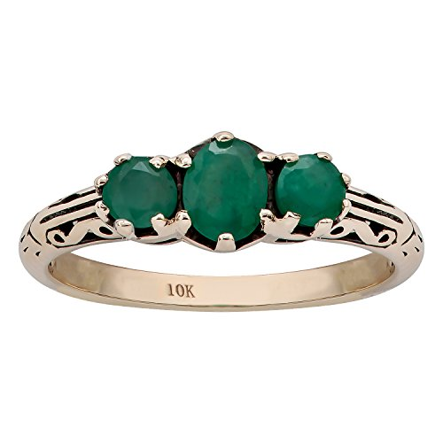 3 Genuine Ring Emerald Stone (10k Yellow Gold Vintage Style Genuine 3-Stone Emerald Ring)