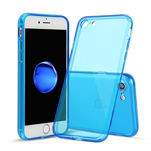 iPhone 7/8 Case, Shamo's [Crystal Clear] Case [Shock Absorption] Cover TPU Rubber Gel [Anti Scratch] Transparent Clear Back, Soft Silicone, Screen Raised Lip Protection Impact Resistant (Dark Blue) (Blue Silicone Clear)