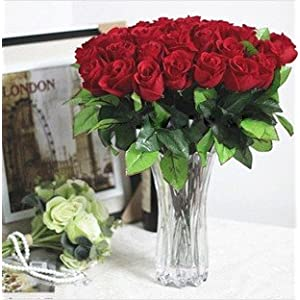 Artificial Red Rose Bud Silk Flower for Home and Wedding Party Decor Set of 30 3
