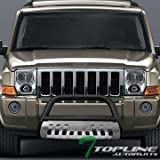Topline Autopart Matte Black HD Heavyduty Bull Bar Brush Push Front Bumper Grill Grille Guard Protector Tubular Tube w/ Chrome Skid Protective Plate 05-07 Jeep Grand Cherokee 06-10 Jeep Commander