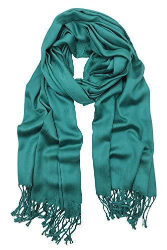 - Achillea Soft Silky Solid Pashmina Shawl Wrap Scarf for Wedding Bridesmaid Evening Dress ... (Premium Teal)