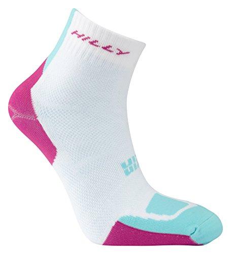 (Hilly Women's Twin Skin Anklet Socks, White/Fluro Pink/Aquamarine, Medium)