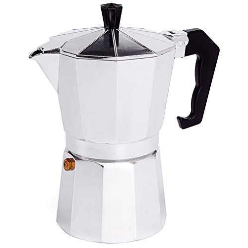 MSV Italian Coffee Machine for 6 Cups, Black/Silver