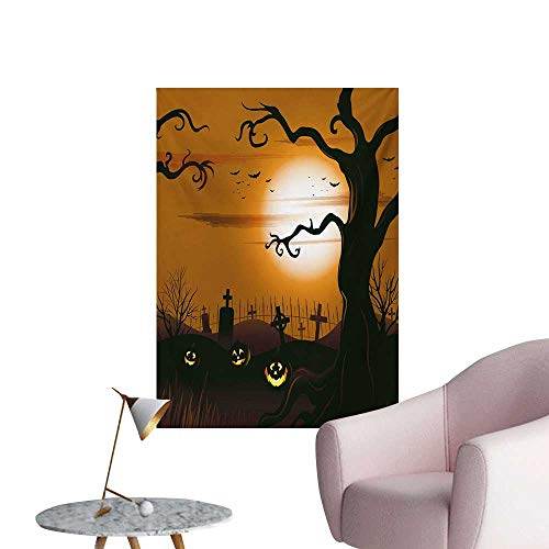 (Anzhutwelve Halloween Wall Paper Leafless Creepy Tree with Twiggy Branches at Night in Cemetery Graphic DrawingBrown Tan W24 xL36 The Office)