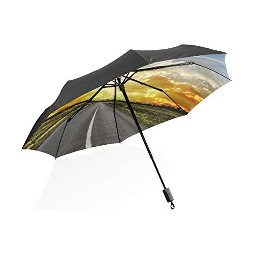 (XiangHeFu Umbrella Road Across Steppe Sunset Clouds Landscape Auto Open Close 3 Folds Lightweight Anti-UV)
