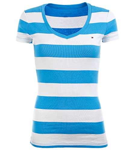 Tommy Hilfiger Damen V-Neck Shirt T-Shirt Marine hellblau Größe S