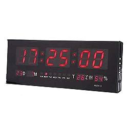 ROBTLE 12/24 Hour Large Digital Clock, LED Alarm Calendar Clock Jumbo Display Snooze Wall Temperature, 14.2 x 5.1 x 1.4inch