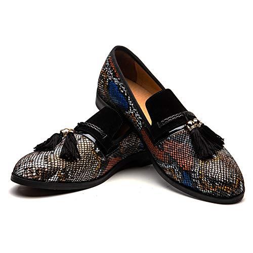 (Men's Vintage Velvet Bv Embroidery Noble Loafer Shoes Slip-on Loafer Smoking Slipper Tassel Loafer (10.5 M US, COLOUR-01))