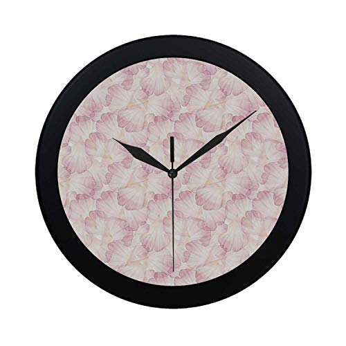 (C COABALLA Pastel Circular Plastic Wall Clock,Soft Pink Flower Petals Watercolor Painting Style Rose Blossom Romantic Gentle for Home,9.65