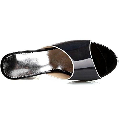 Nero Tacco da Elegante Sandali Blocco Tacco Alto con COOLCEPT Donna Pantofole HwFxt0qv