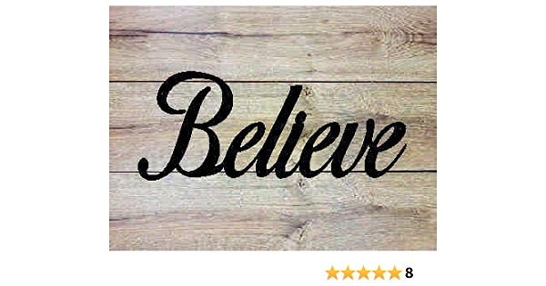 Amazon Com Ajd Designs Believe Metal Wall Art Sign Home Kitchen