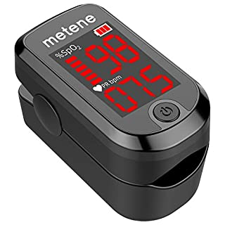 Pulse Oximeter Fingertip, Blood Oxygen Saturation Monitor Heart Rate Meter, Portable Spo2 Oximeter with Lanyard and 2 Batteries (Classic Matte Black)